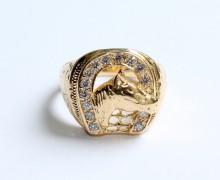 Anel Ferradura e Cavalo Diamantes Ouro 18k 750 (9)