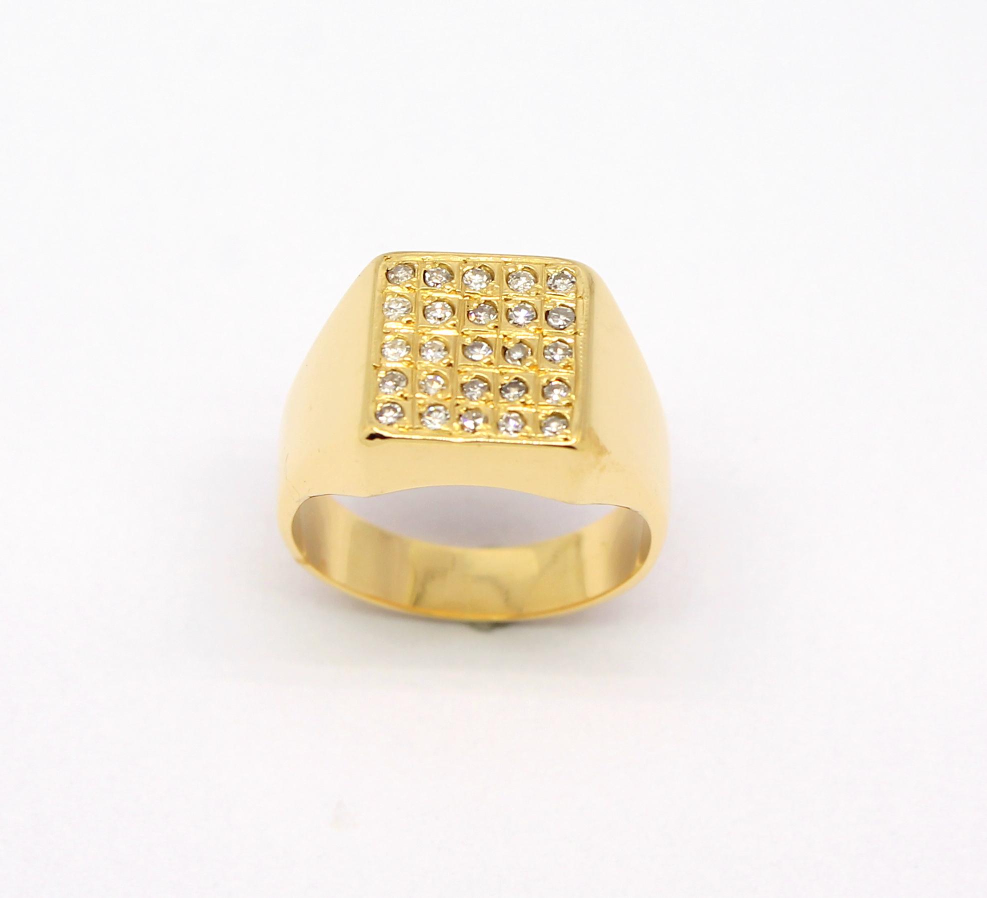 7ba9198b534 Anel Masculino Quadrado Diamante Ouro 18k 750 - Marcio Joalheiros ...