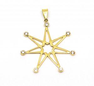 Pingente Estrela 7 Pontas Zircônios Ouro 18k 750 (1)
