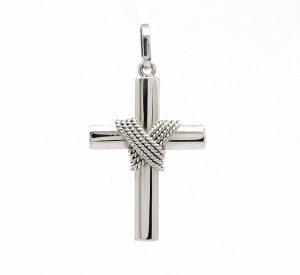 Cruz com Corda Ouro Branco 18k 750 (1)