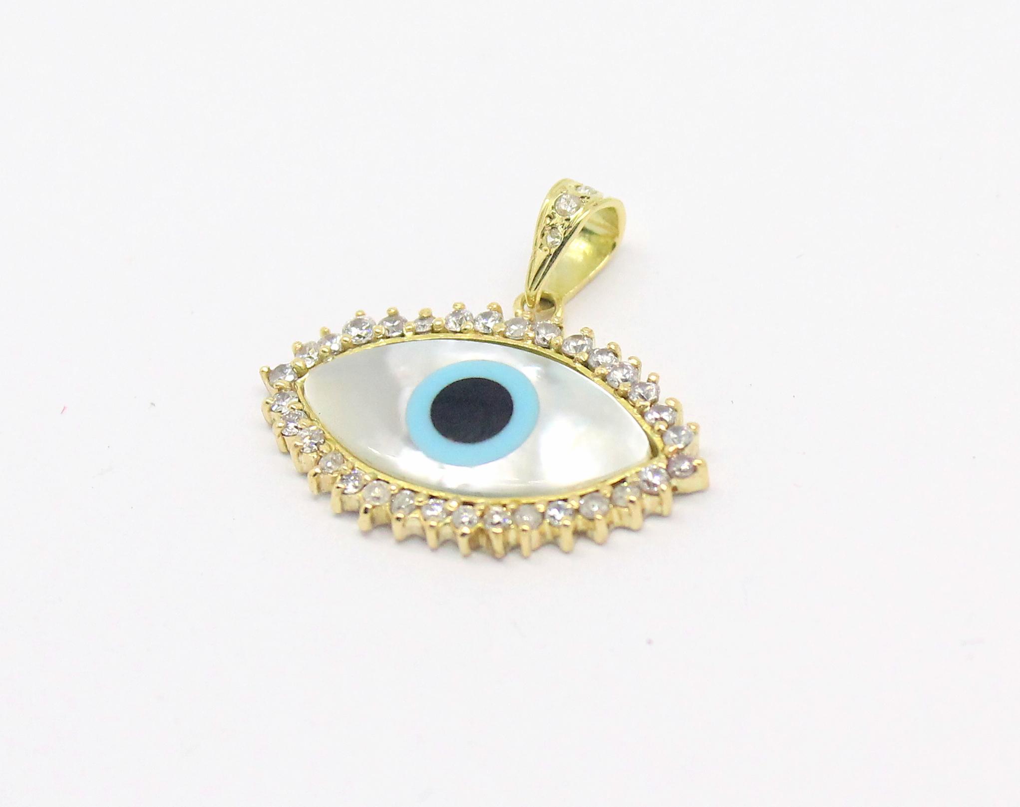 be8ee58bb3c50 Pingente Olho Grego Madrepérola Diamante Ouro 18k 750 - Marcio ...