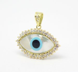 Pingente Olho Grego Madrepérola Diamante Ouro 18k 750 (5)