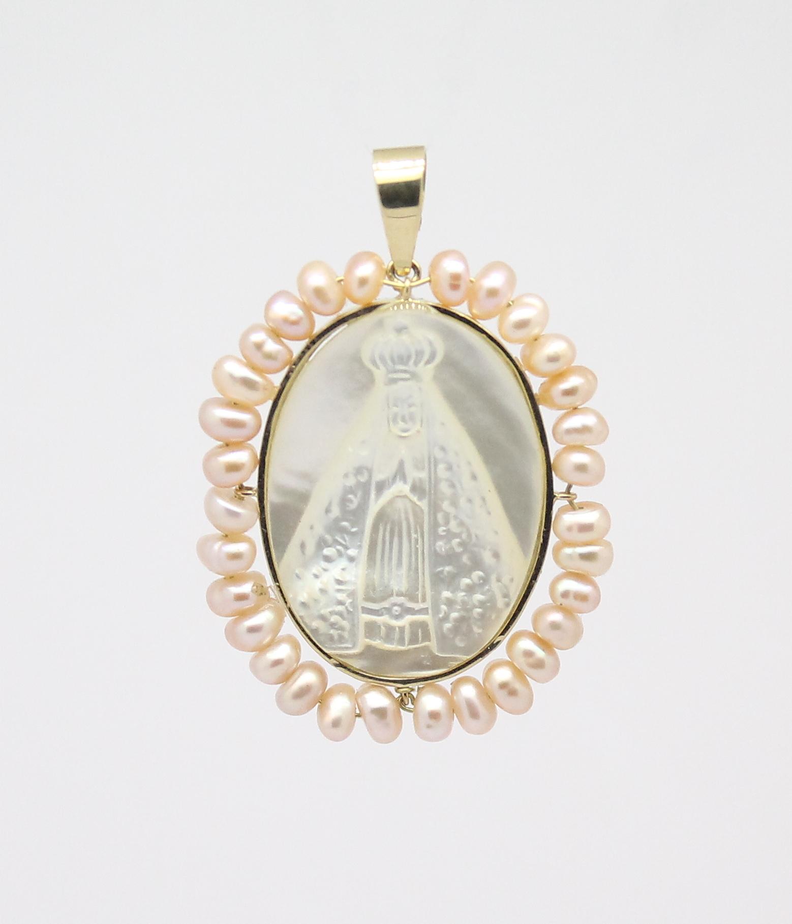 bf270a2ef6700 Pingente Nossa Senhora Aparecida Madrepérola Ouro 18k 750 - Marcio ...