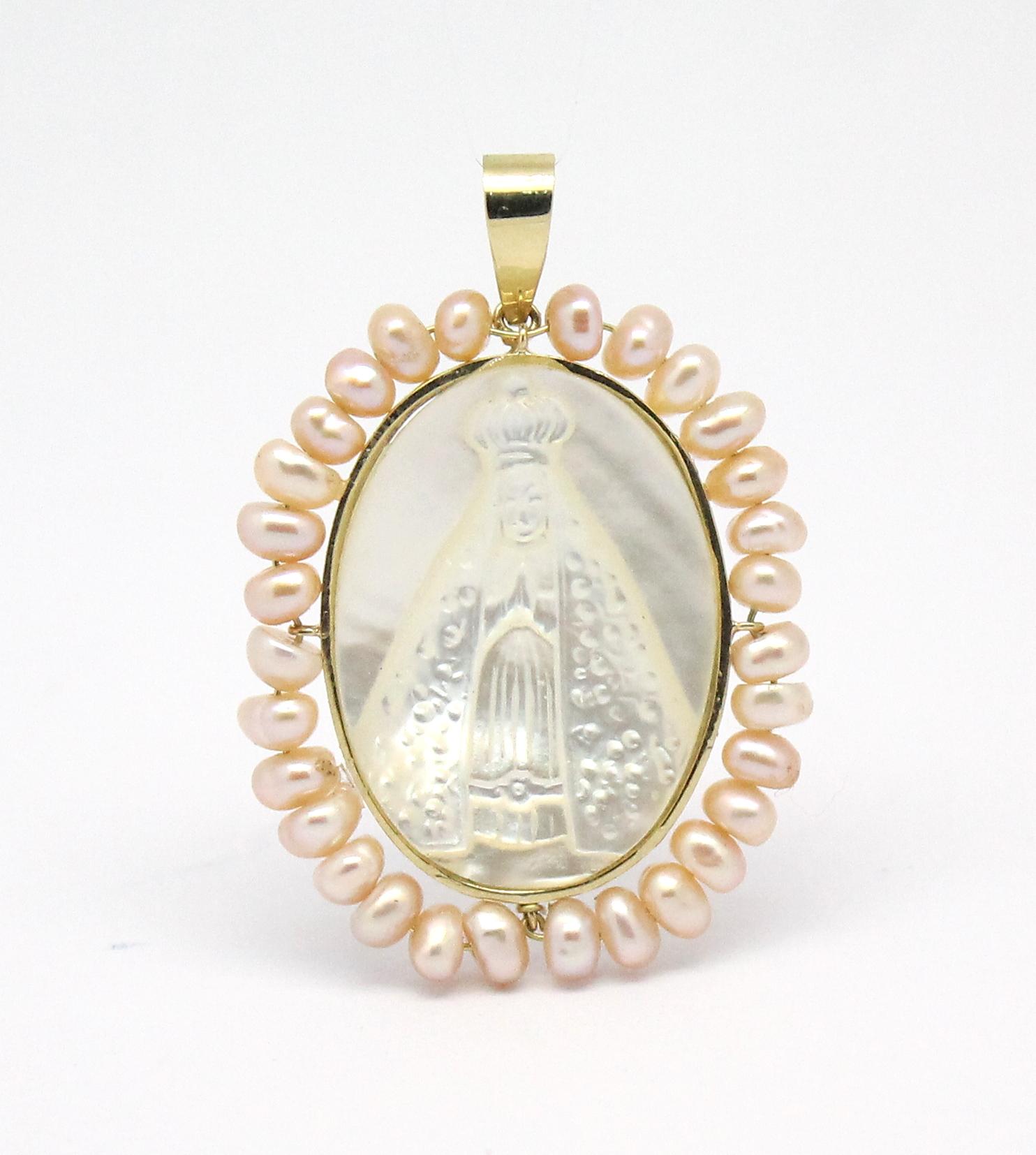 Pingente Nossa Senhora Aparecida Madrepérola Ouro 18k 750 - Marcio ... 047640654c