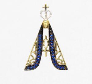 Pingente Nossa Senhora Aparecida Safiras Ouro 18k 750 (2)