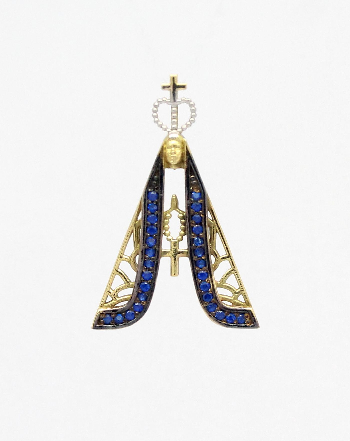 cb92ee2029850 Pingente Nossa Senhora Aparecida Safiras Ouro 18k 750 - Marcio ...