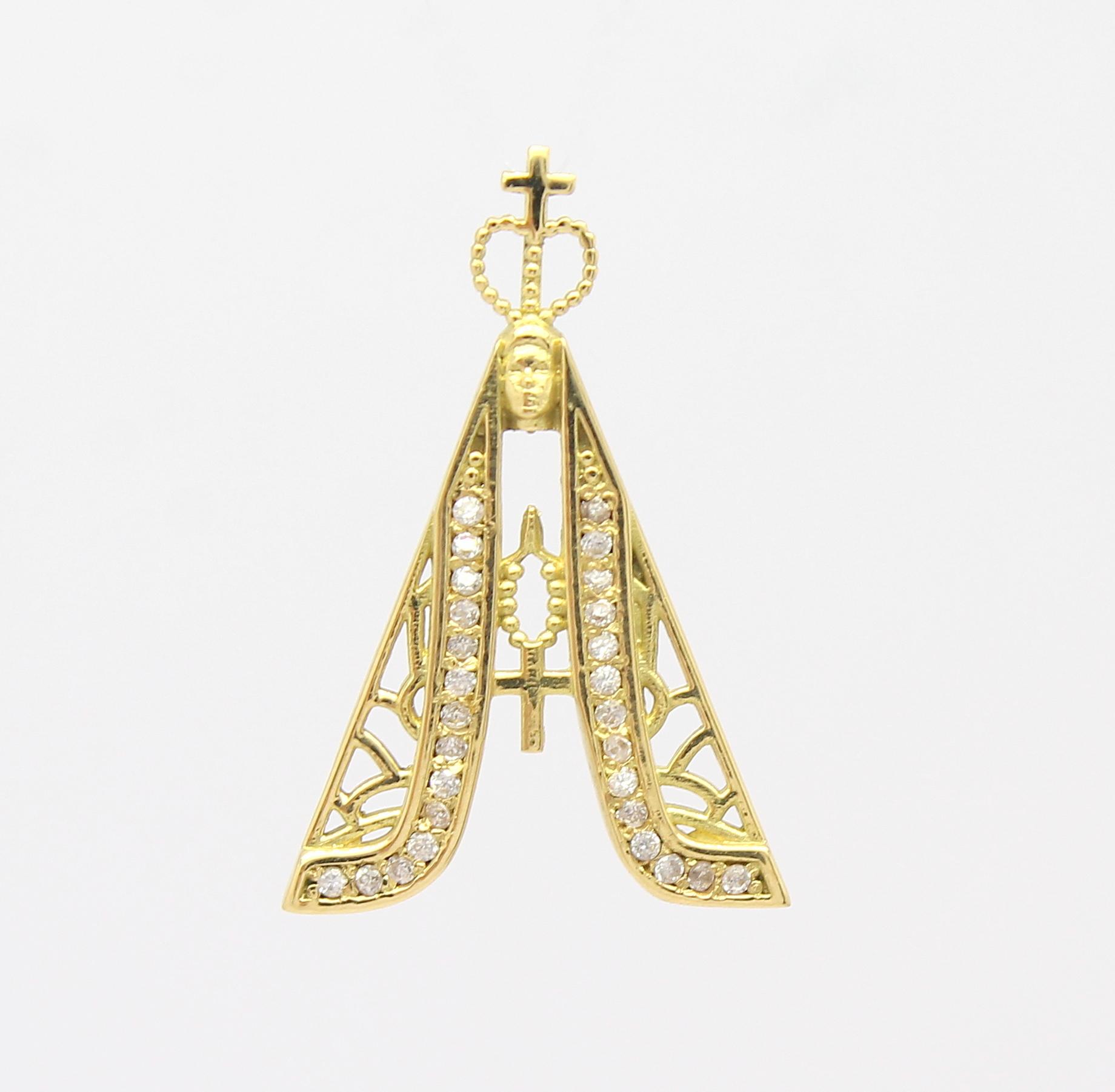 dc1d3c5bbb1ea Pingente Nossa Senhora Aparecida Zircônias Ouro 18k 750 - Marcio ...