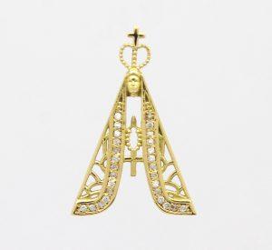 Pingente Nossa Senhora Aparecida Zircônias Ouro 18k 750 (4)