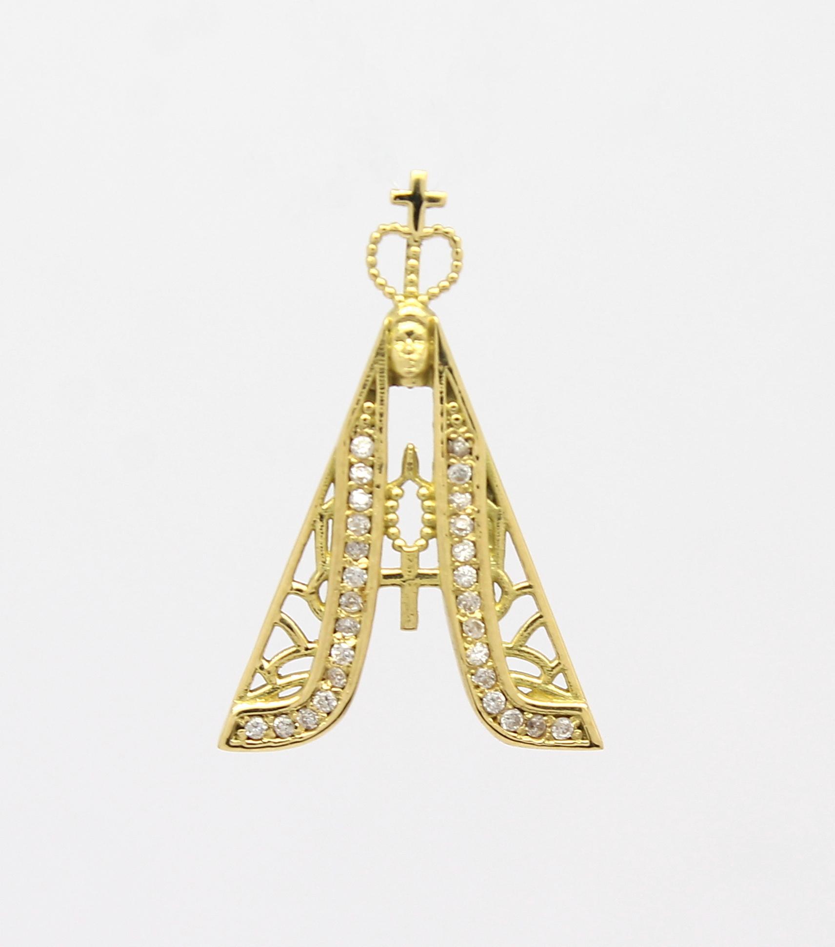 Pingente Nossa Senhora Aparecida Zircônias Ouro 18k 750 - Marcio ... e0fb78c173