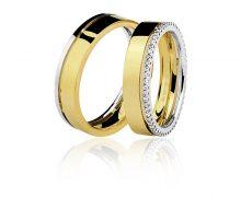Par de Alianças 5mm Diamantes Ouro 18k 750