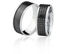 Par de Alianças 7mm Diamantes Negros Ouro Branco 18k 750
