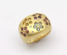 Anel Flores Pedras Brasileiras Ouro 18k 750 (2)