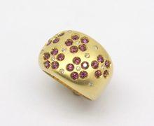 Anel Flores Turmalina Rosa e Diamantes Ouro 18k 750 (1)