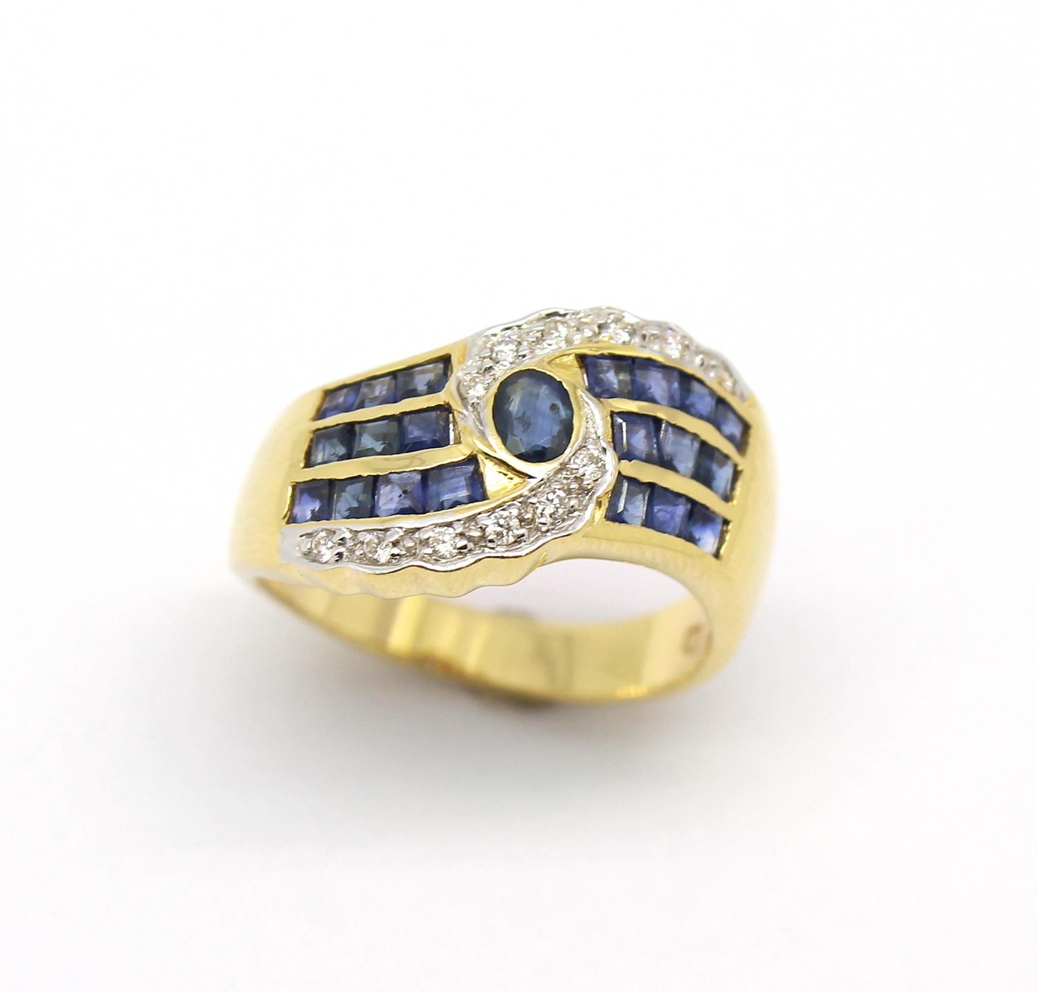 62a77d393c1f6 Anel Safira Azul Diamantes Ouro 18k 750   Marcio Joalheiros