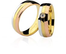 Par de Alianças Ouro Amarelo Branco Vermelho e Diamante