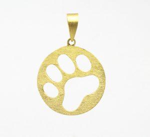 Pingente Pet Patinha de Cachorro Fosco Ouro 18k 750 (4)