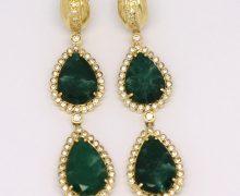 Brinco 2 Gotas Esmeralda e Zircônias Ouro 18k 750 (1)
