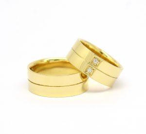 Par de Alianças 7mm Listrada Diamantes Ouro 18k 750 (4)