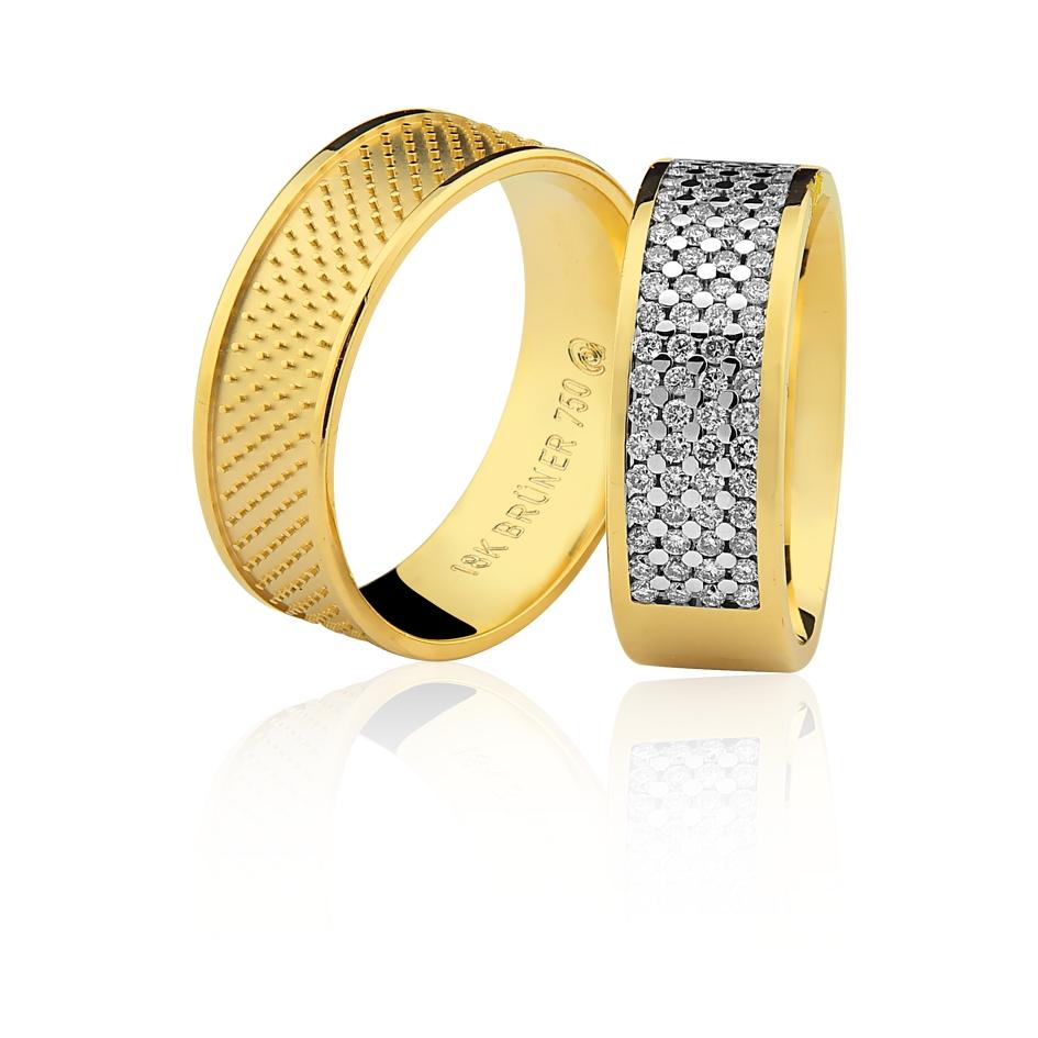 37049965f5b Par de Alianças 7mm Diamantes Ouro 18k 750 - Marcio Joalheiros ...