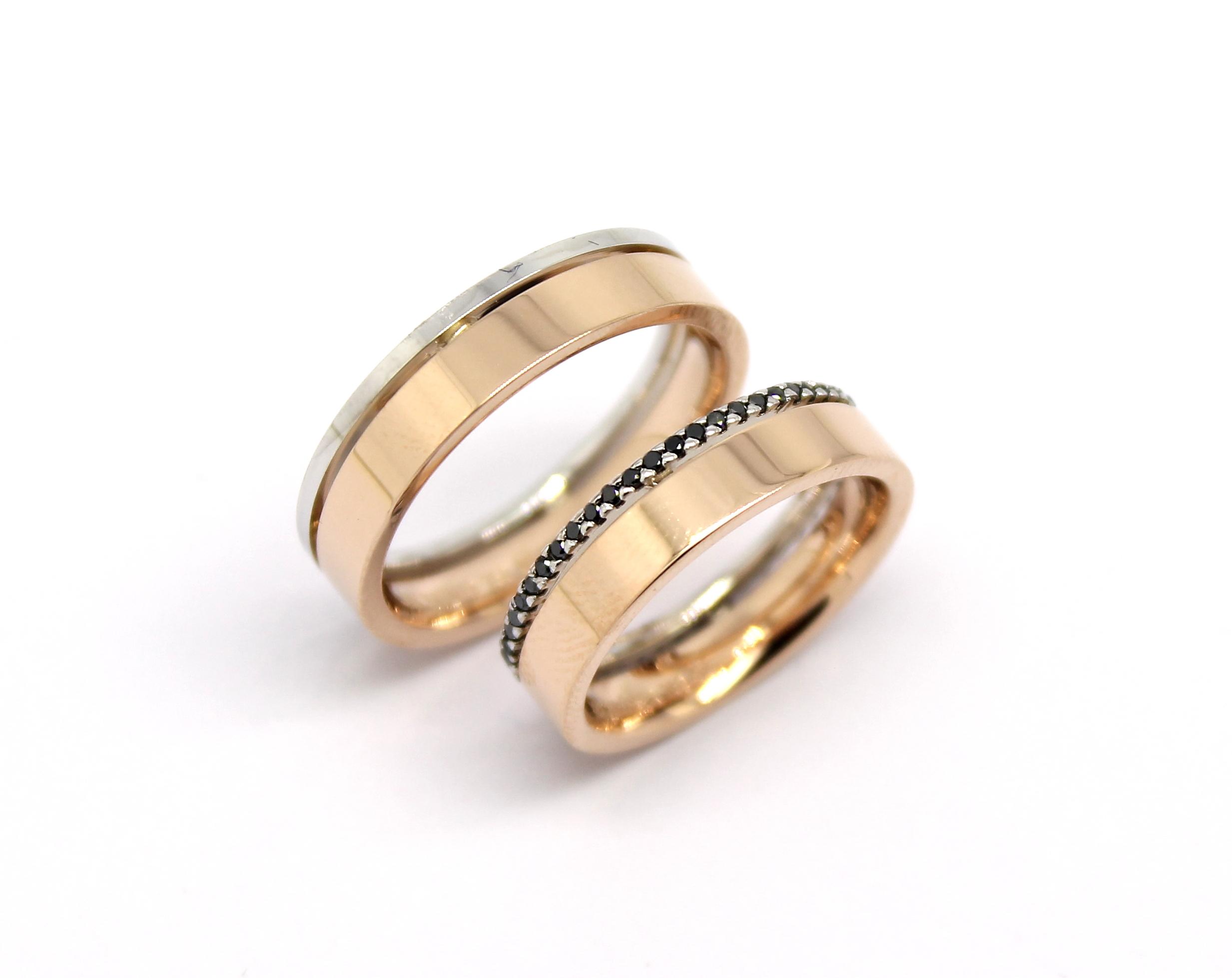 86fe7c1c62c Par de Alianças Diamantes Negros Ouro Rose e Branco 18k 750 - Marcio ...