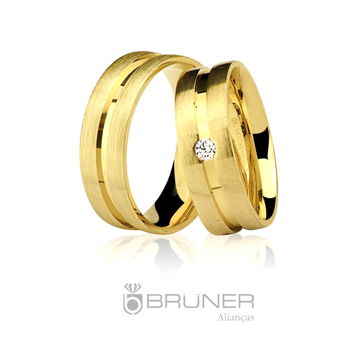 6949242d598 Par de Alianças Fosca e Lisa Diamante Ouro 18k 750 - Marcio ...